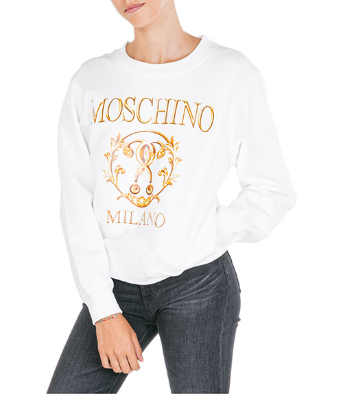 Sweatshirt Moschino Roman Double Question Mark A171555277002 bianco