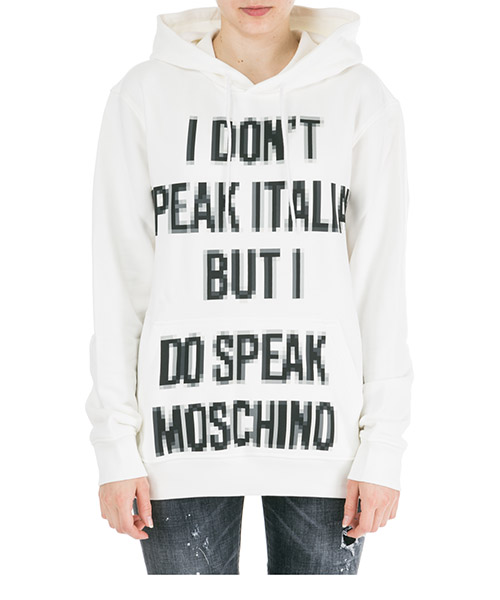 Sweat à capuche Moschino Pixel A177991271002 bianco