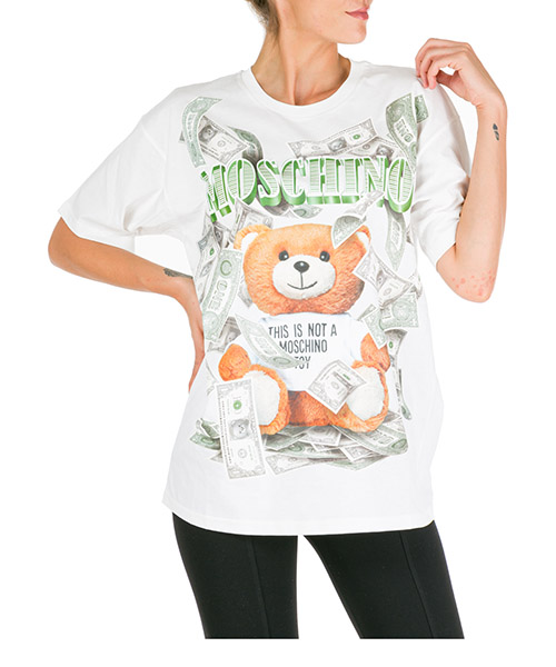 Футболка Moschino dollar teddy bear v070154401002 bianco