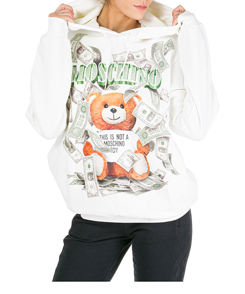 Sweat à capuche Moschino Dollar Teddy Bear V171354273002 bianco