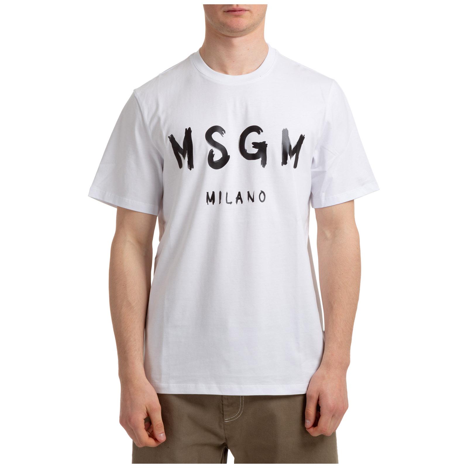 T-shirt maglia maniche corte girocollo uomo logo pennellato