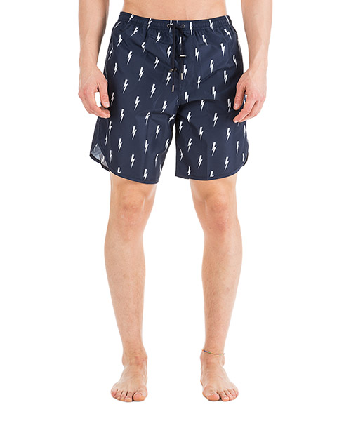 Swimming trunks Neil Barrett Thunderbolt PBCB109B L073 195 navy / white