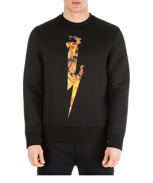 Sweatshirt Neil Barrett Flame thunderbolt PBJS501SM538S 94 black + orange