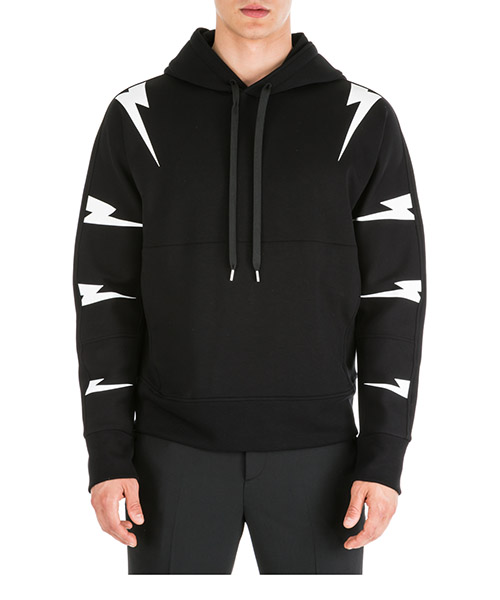 Hoodie Neil Barrett Tiger bolt PBJS502SM536S 524 black / white