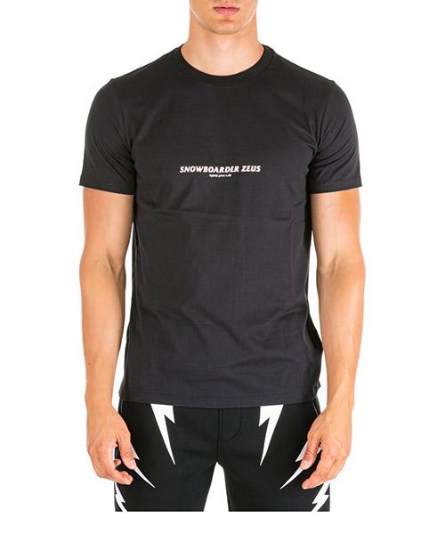 T-shirt Neil Barrett Snowboarder Zeus PBJT547BM500S 2350 black + sky