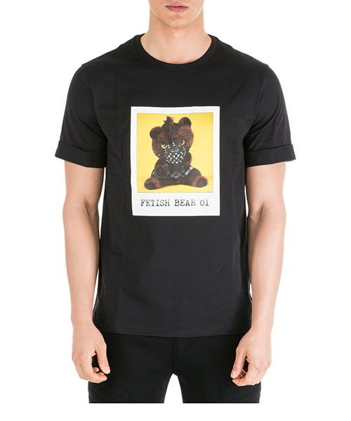 T-shirt Neil Barrett Fetish bear PBJT551SM504S 1004 black - yellow
