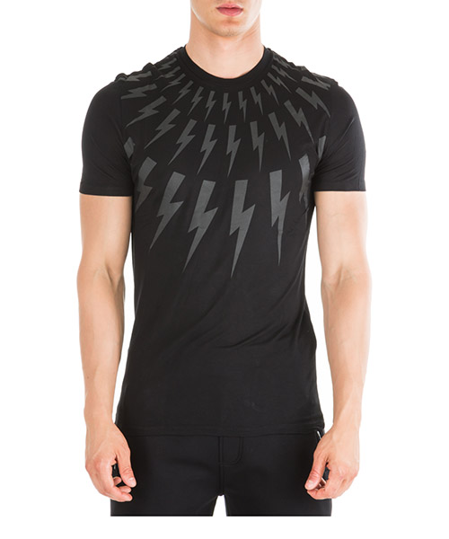 T-shirt Neil Barrett thunderbolt fair-isle pbjt552sm506s 01 nero