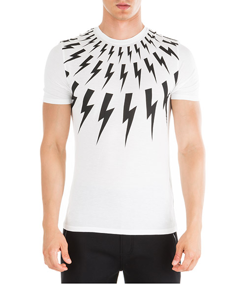 T-shirt Neil Barrett Thunderbolt fair-isle PBJT552SM506S 526 bianco