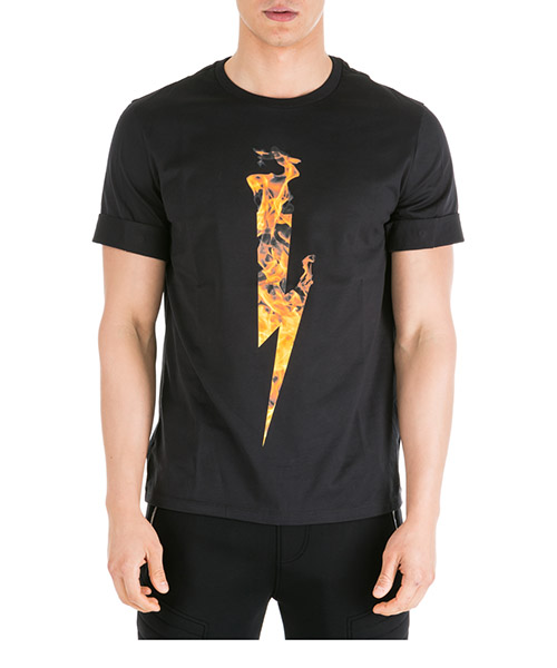 T-shirt Neil Barrett Flame thunderbolt PBJT556SM507S 94 black - orange