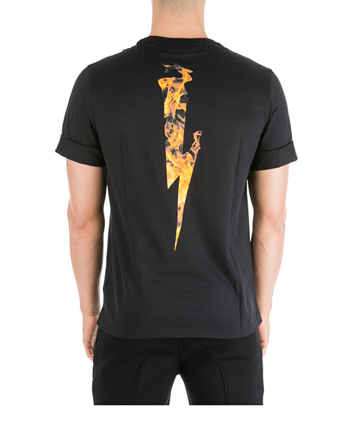 Men's short sleeve t-shirt crew neckline jumper flame thunderbolt secondary image