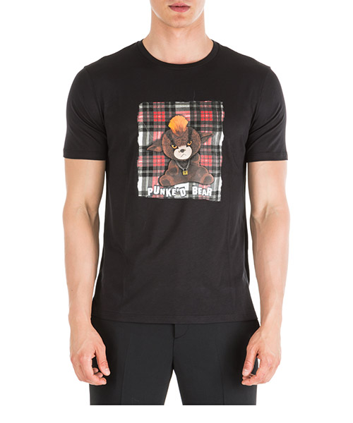 T-shirt Neil Barrett Punke'd bear PBJT575BM526S 1076 black / red