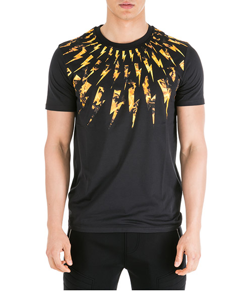 T-shirt Neil Barrett Flame fair-isle thunderbolt PBJT578SM522S 94 black - orange