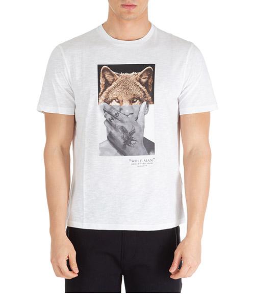 T-shirt Neil Barrett wolf-man pbjt689sn534s 2357 bianco