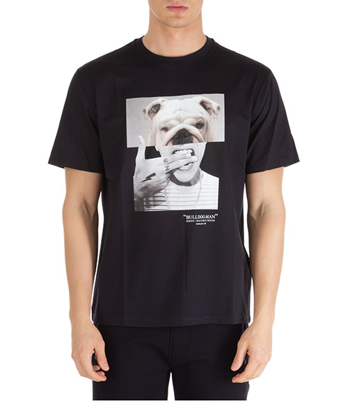 T-shirt Neil Barrett bulldog-man pbjt690bn536s 1874 black / multicolor