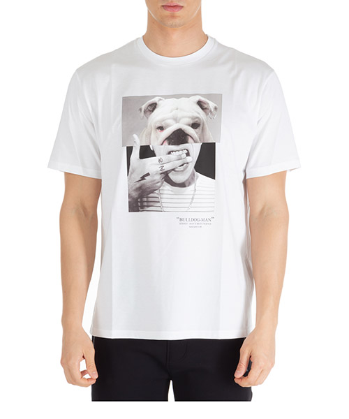 T-shirt Neil Barrett bulldog-man pbjt690bn536s 2357 white+multicolor