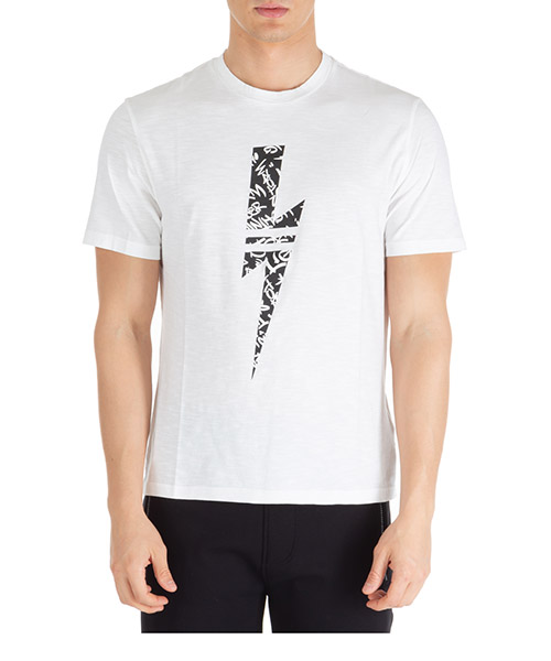 T-shirt Neil Barrett graffiti thunderbolt pbjt693sn541s 526 bianco
