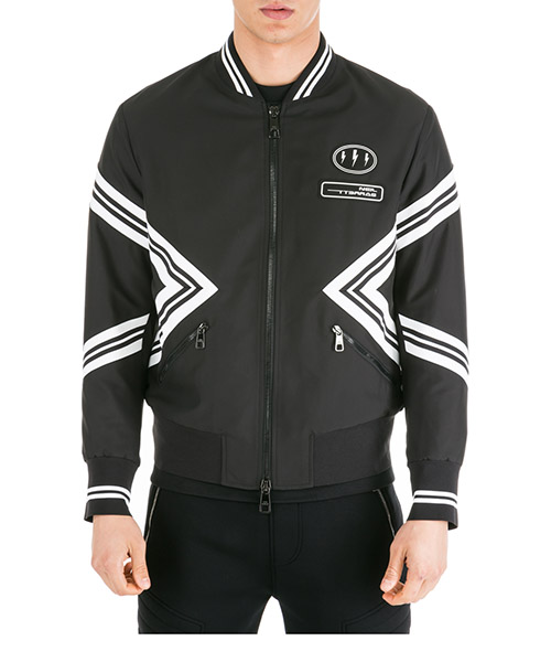 Верхняя одежда блузон Neil Barrett Iconic Varsity Modernist PBSP455M012 1895 black - white