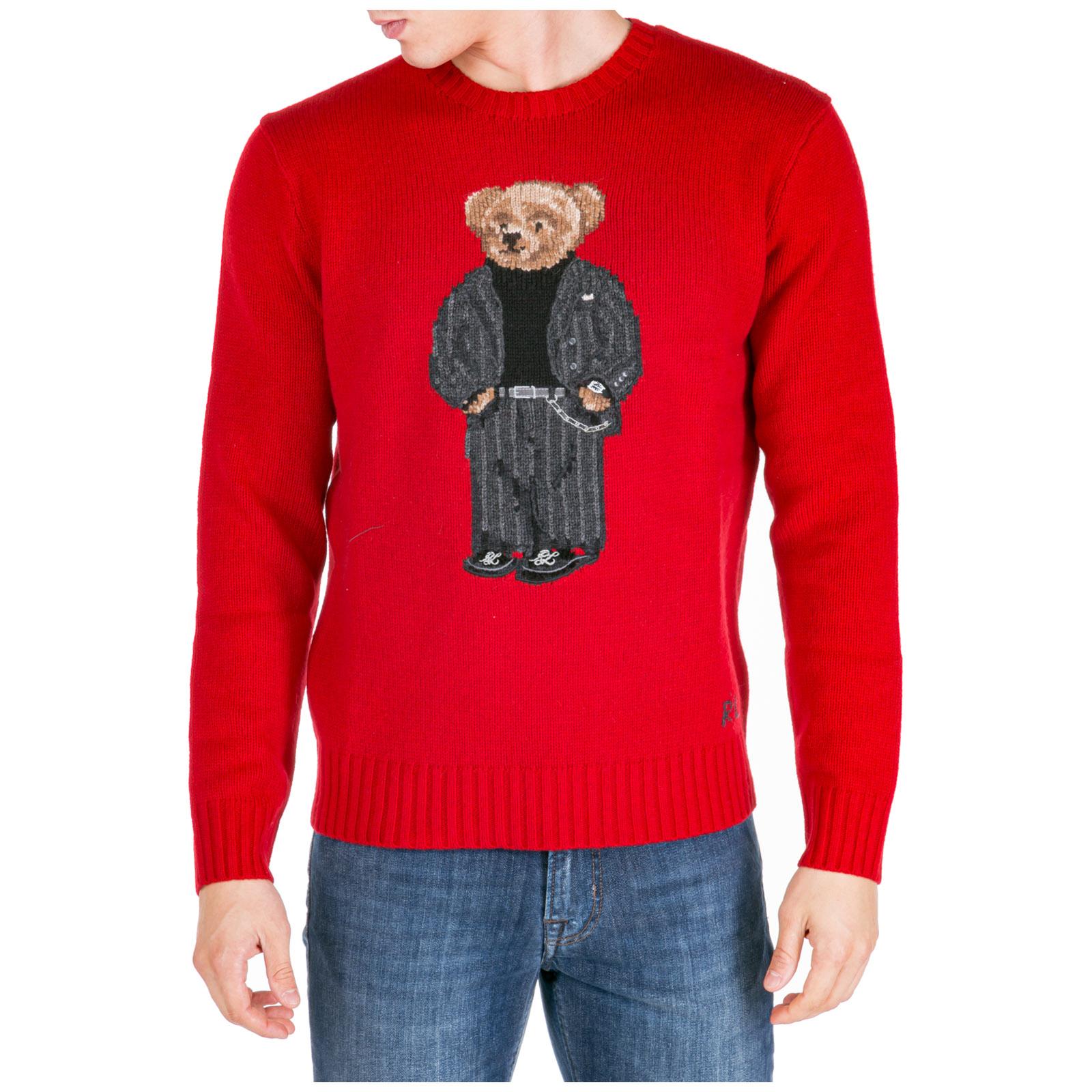 rivenditore online 7a590 36841 Maglione Polo Ralph Lauren bear 710766112001 rosso   FRMODA.com
