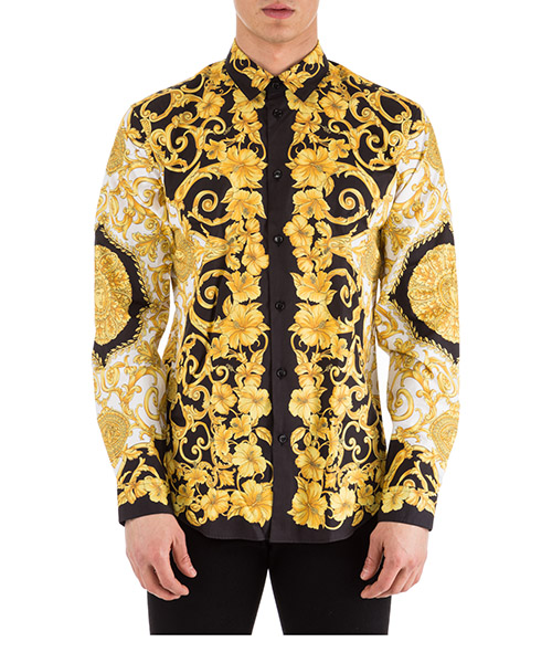Camicia Versace A77215-A228210_A771 bianco - nero - oro