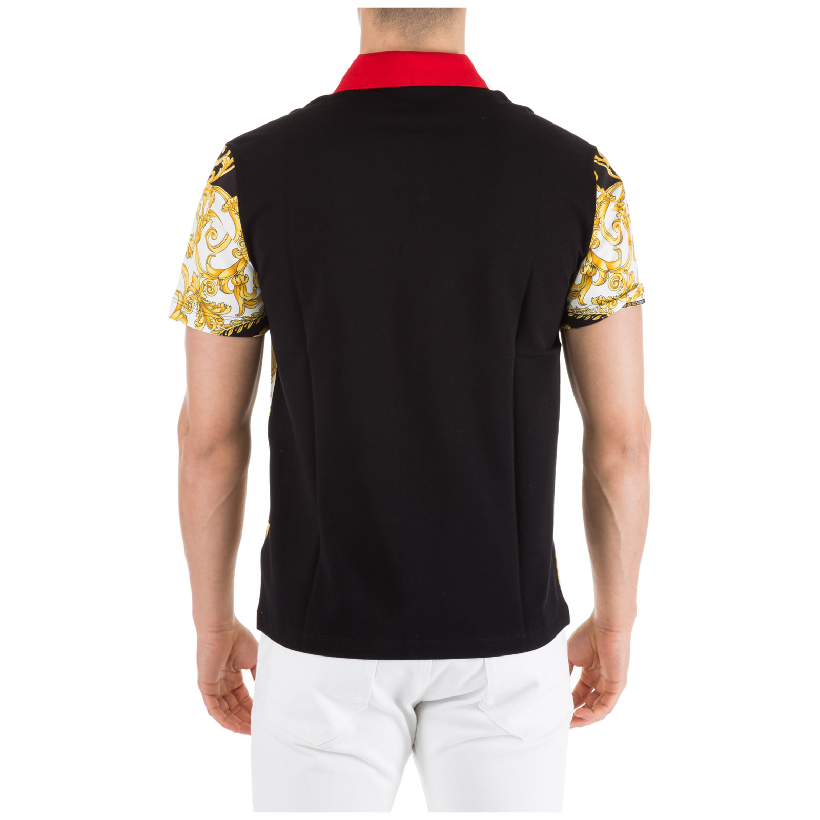 afaea2bc Polo t-shirt Versace Hibiscus A81900-A228817_A771 bianco-nero-oro ...