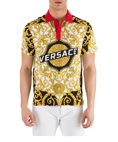 Polo t-shirt Versace Hibiscus A81900-A228817_A771 bianco-nero-oro
