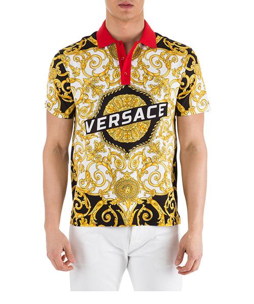 Polo Versace Hibiscus A81900-A228817_A771 bianco-nero-oro
