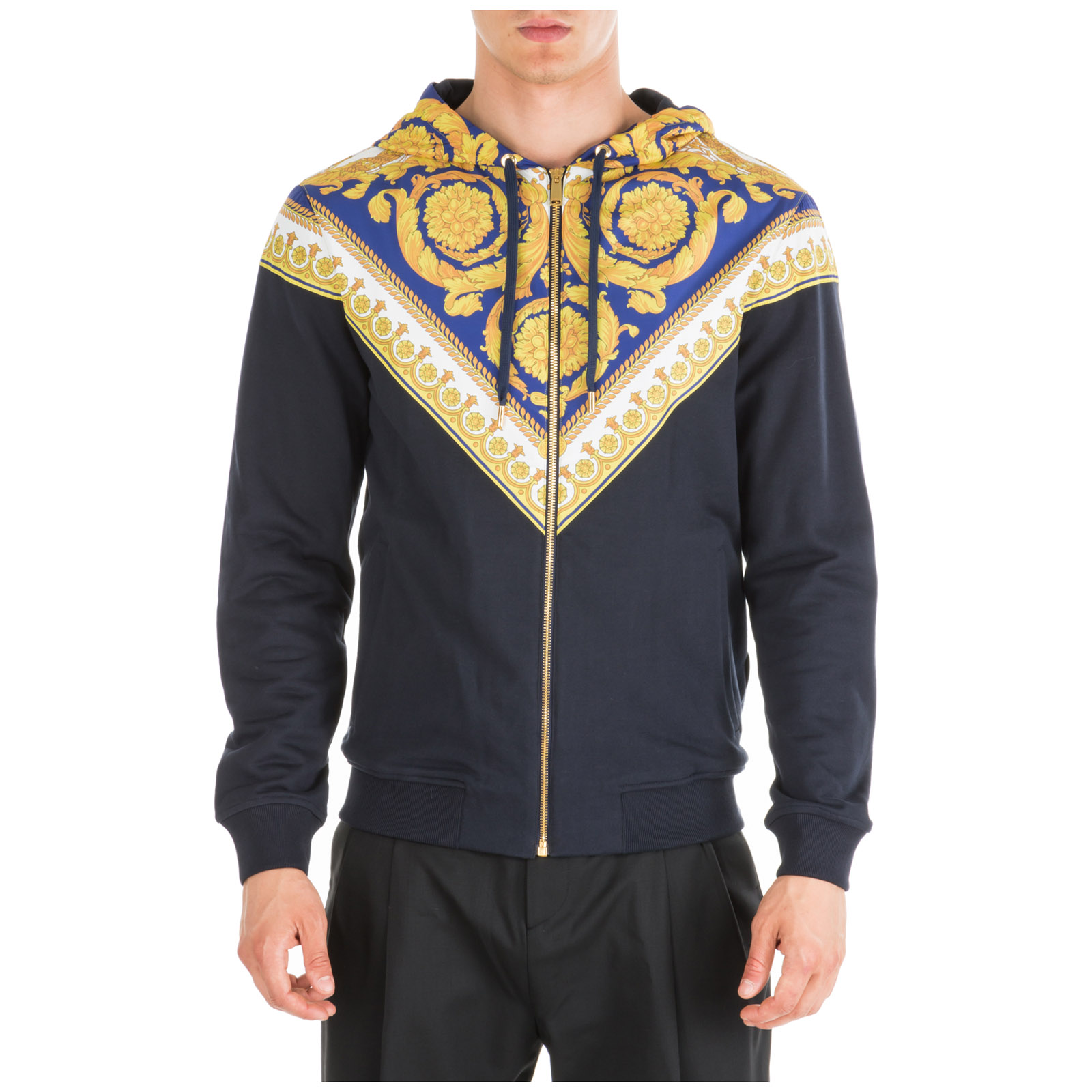 71a70c5a1f Men's Sweatshirt With Zip Sweat Gold Barocco in Black