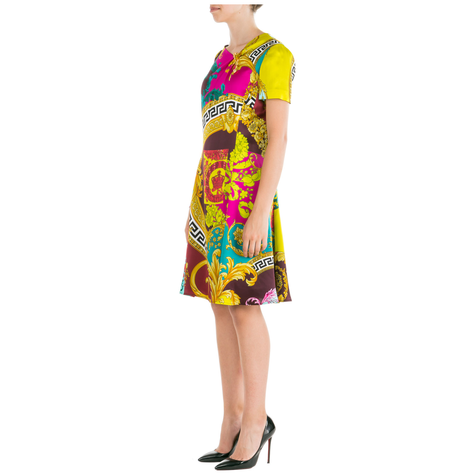 Vestido de mujer largo hasta la rodilla con mangas cortas