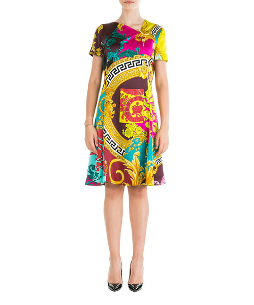 Knee length dresses Versace A83203-A230939_A7000 giallo