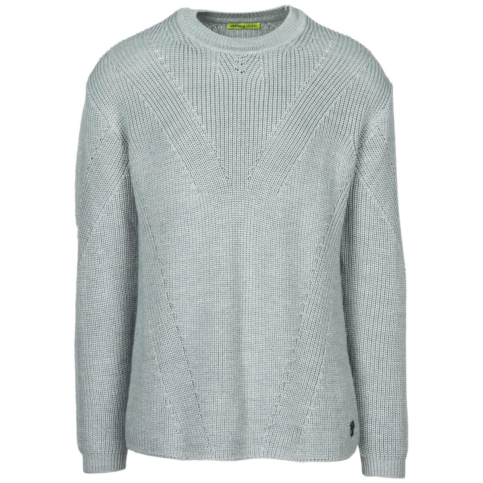 VERSACE JEANS Men'S Crew Neck Neckline Jumper Sweater Pullover in Grey