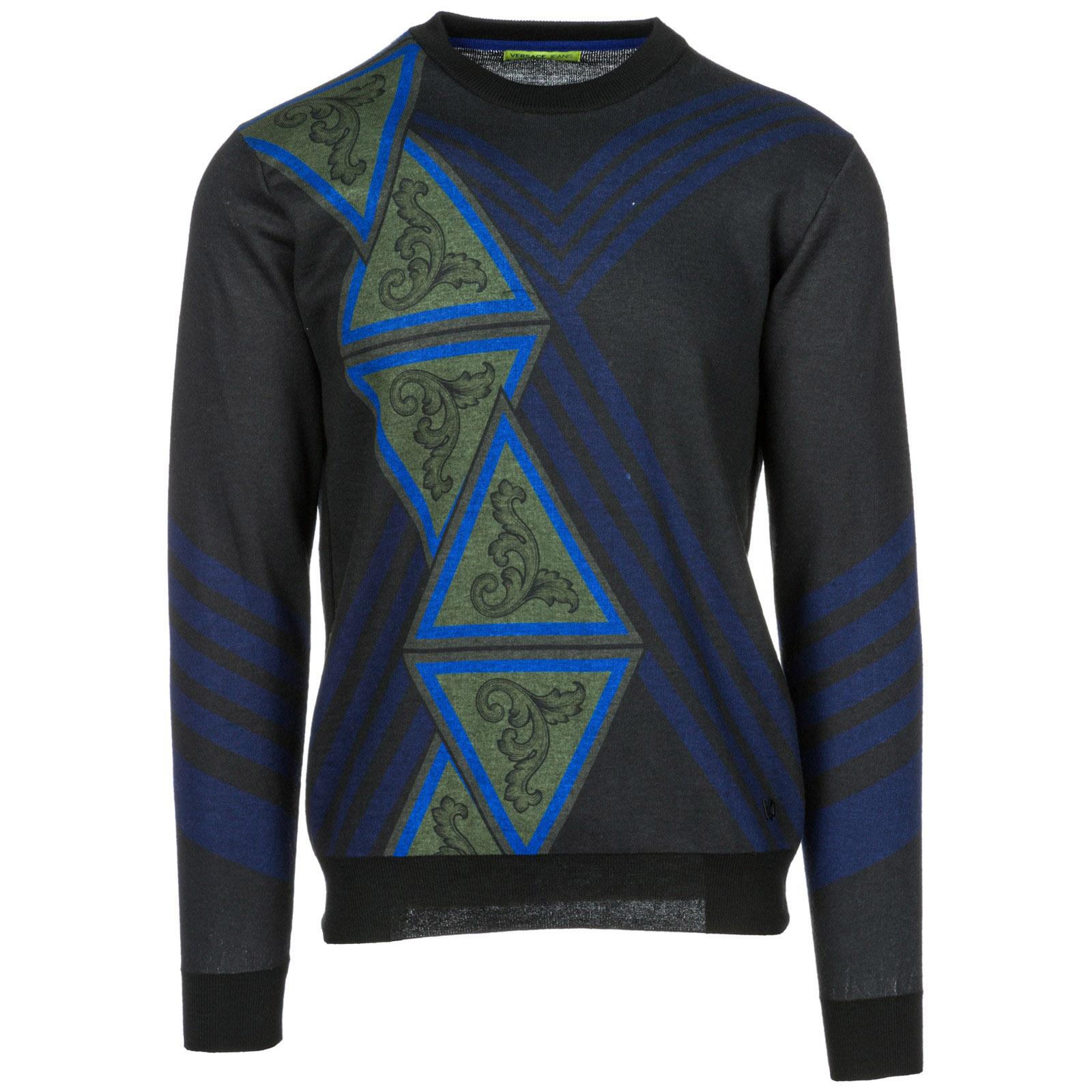 VERSACE JEANS Men'S Crew Neck Neckline Jumper Sweater Pullover in Black