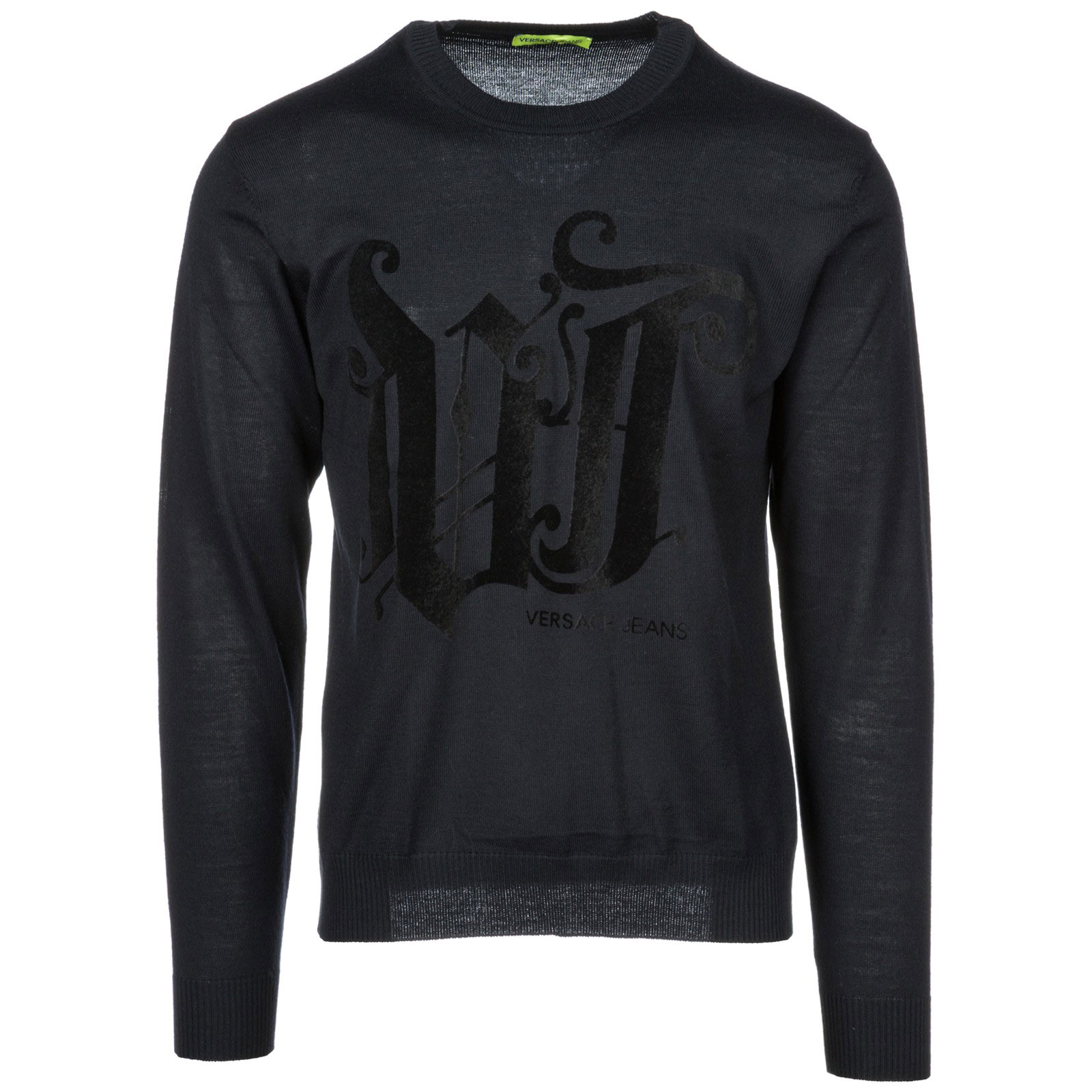 VERSACE JEANS Men'S Crew Neck Neckline Jumper Sweater Pullover in Blue