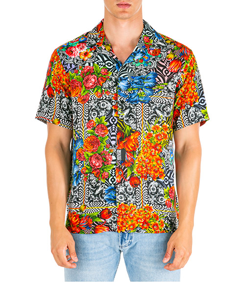 Short sleeve shirts Versace Jeans Couture Optical Flowers EB1GUA604-ES0527_E899 nero