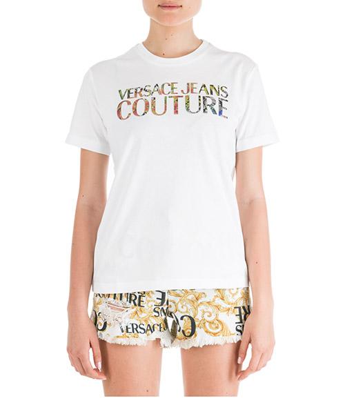 T-shirt Versace Jeans Couture Flower EB2HUA7AD-E36260_E003 bianco