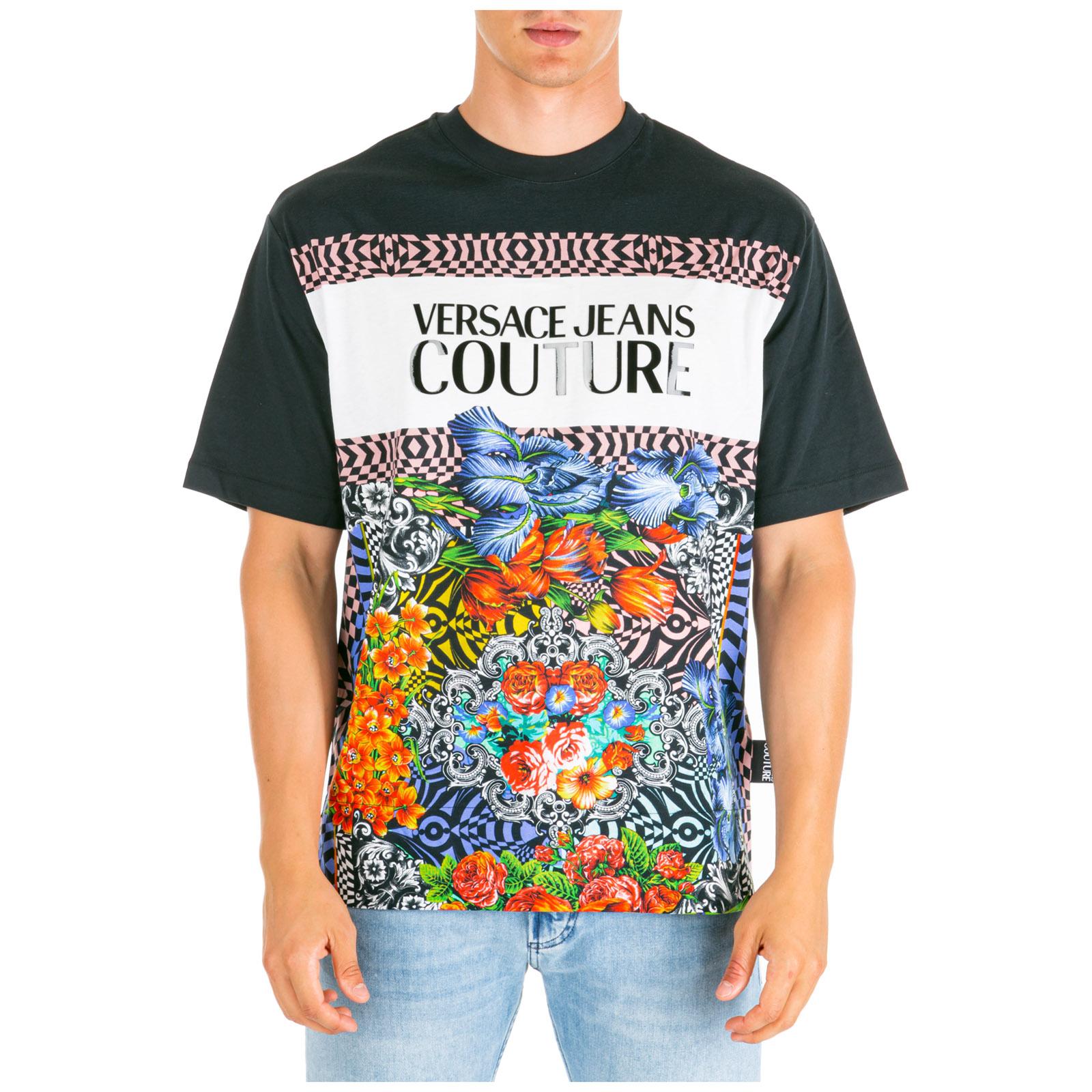 916dd8a6 Men's short sleeve t-shirt crew neckline jumper optical flowers