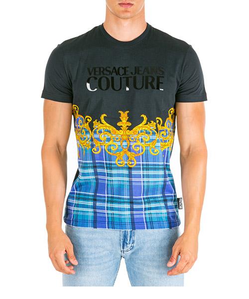 T-shirt Versace Jeans Couture check baroque eb3gua7da-e36609_e899 nero