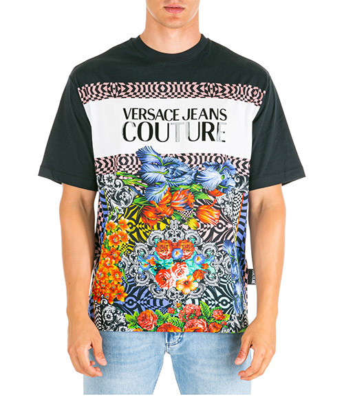 T-shirt Versace Jeans Couture optical flowers eb3gua7dc-e36609_e899 nero