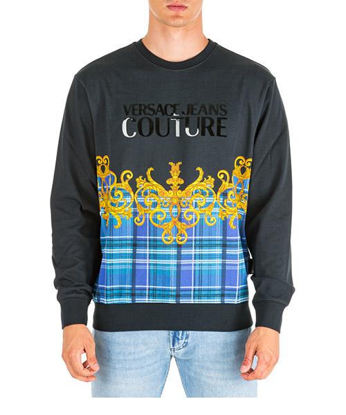 Sweatshirt Versace Jeans Couture check baroque eb7gua7fx-e30176_e899 nero