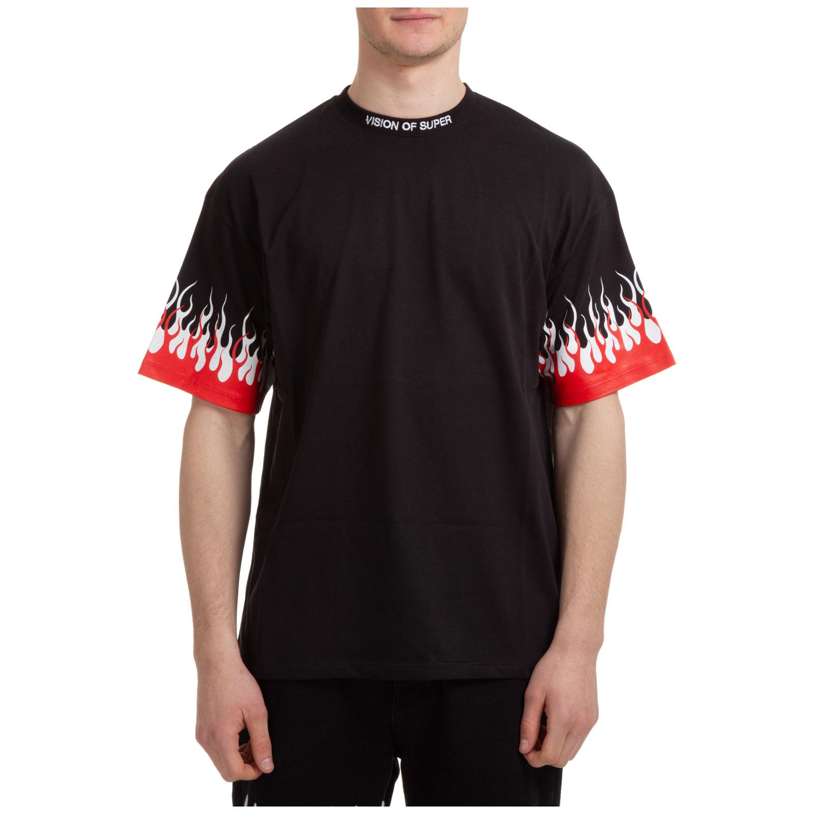T-shirt maglia maniche corte girocollo uomo double flames