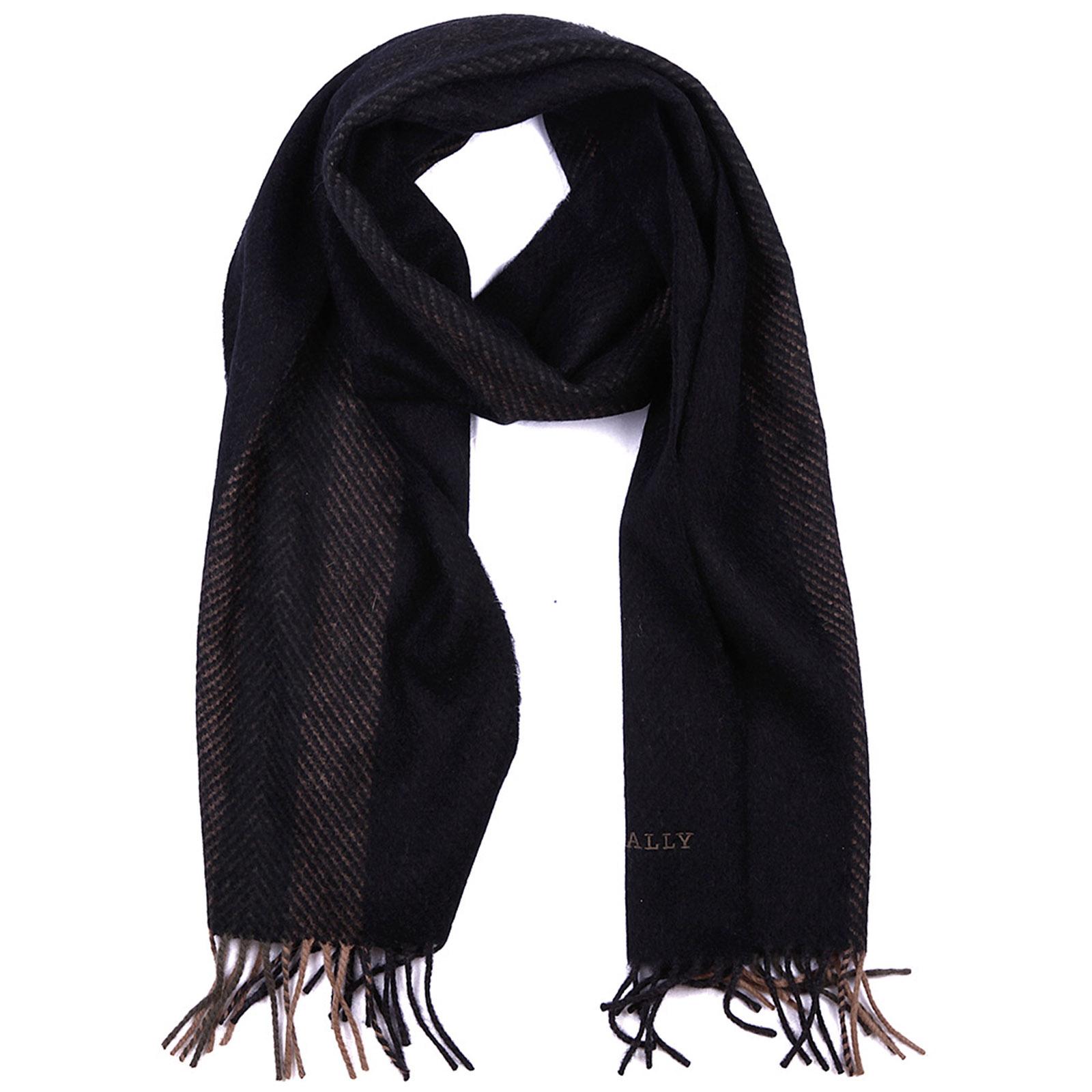 Men's wool scarf multi dark grey jacquard