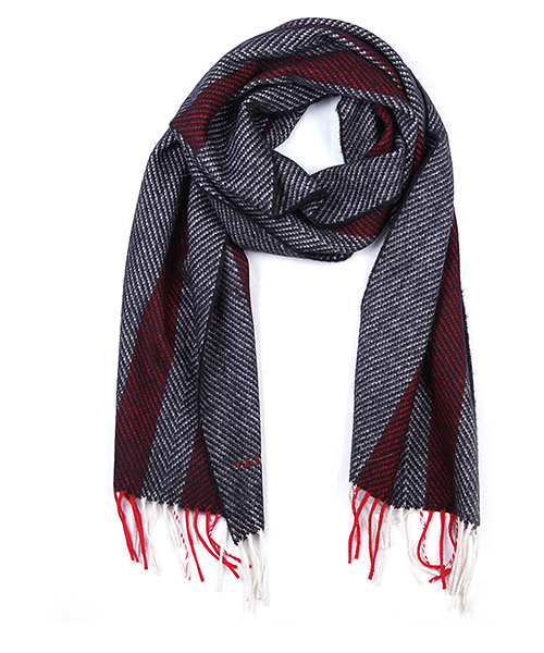 Men's wool scarf multi bone jacquard secondary image
