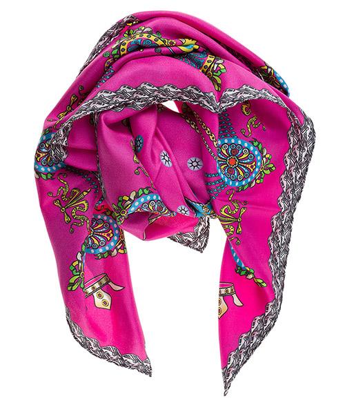 Silk foulard d'Este Corona CORONA fuchsia