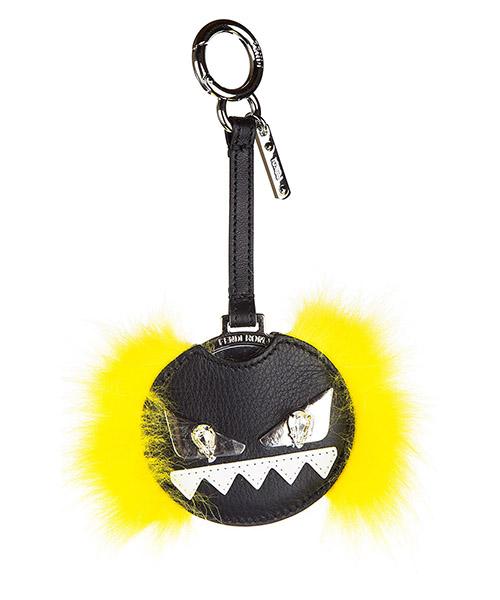 Bag charm Fendi 7AR455 87D F06EE crystal nero + giallo fluo