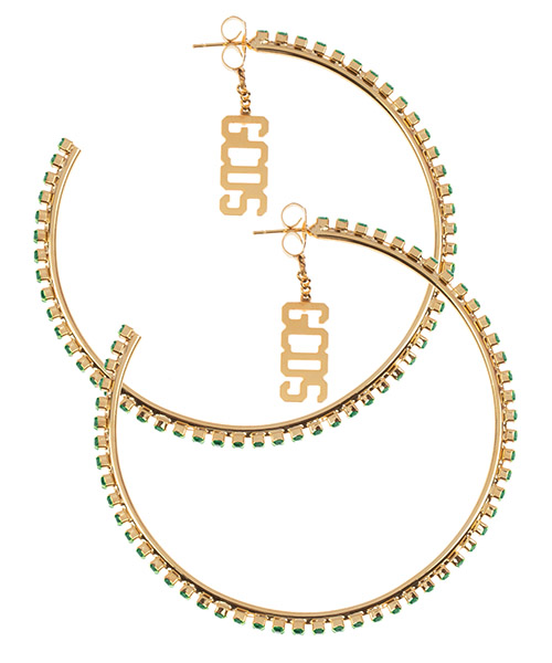 Earrings GCDS team sperkling logo CC94W010324-05 verde