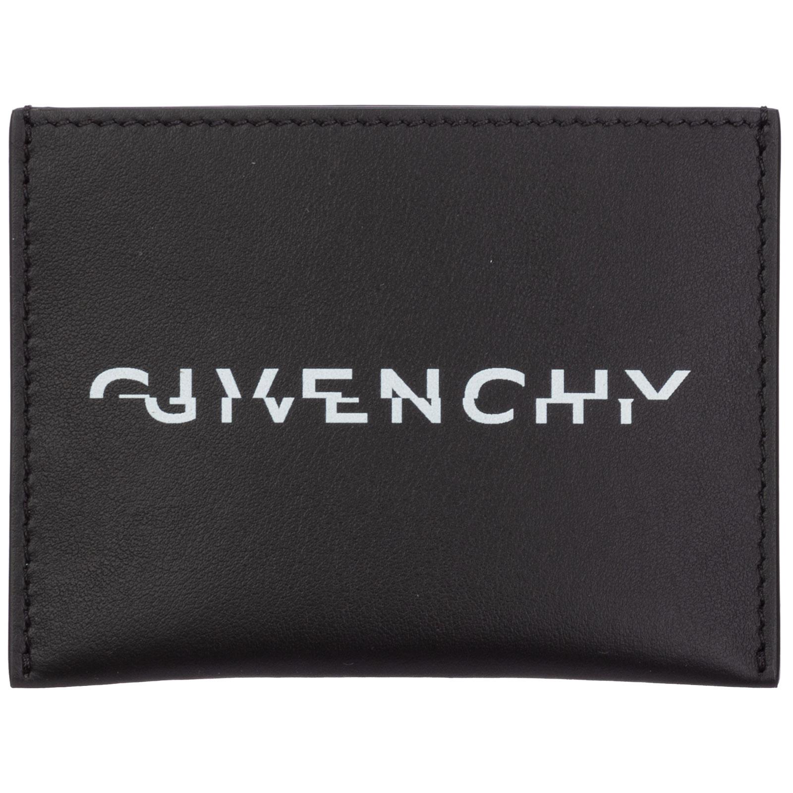 Givenchy Men's Genuine Leather Credit Card Case Holder Wallet Split In Black
