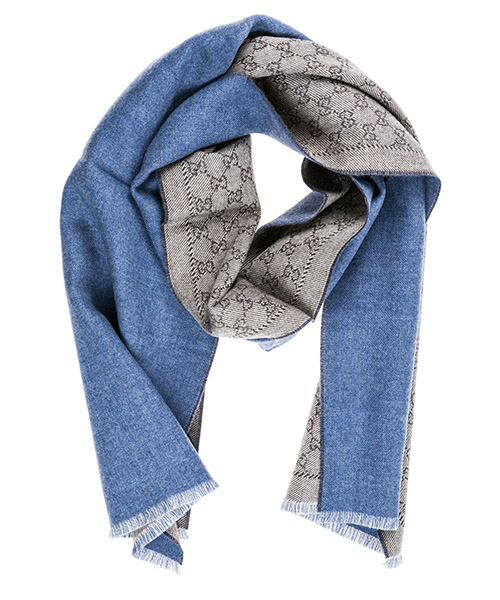 Wool scarf Gucci GG jacquard 4020934G2009768 blu
