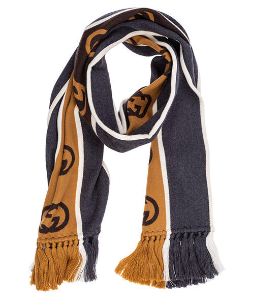 Шерстяной шарф Gucci gg jacquard 5756054g1841279 grigio