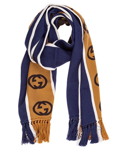 Шерстяной шарф Gucci gg jacquard 5756054g1844379 blu