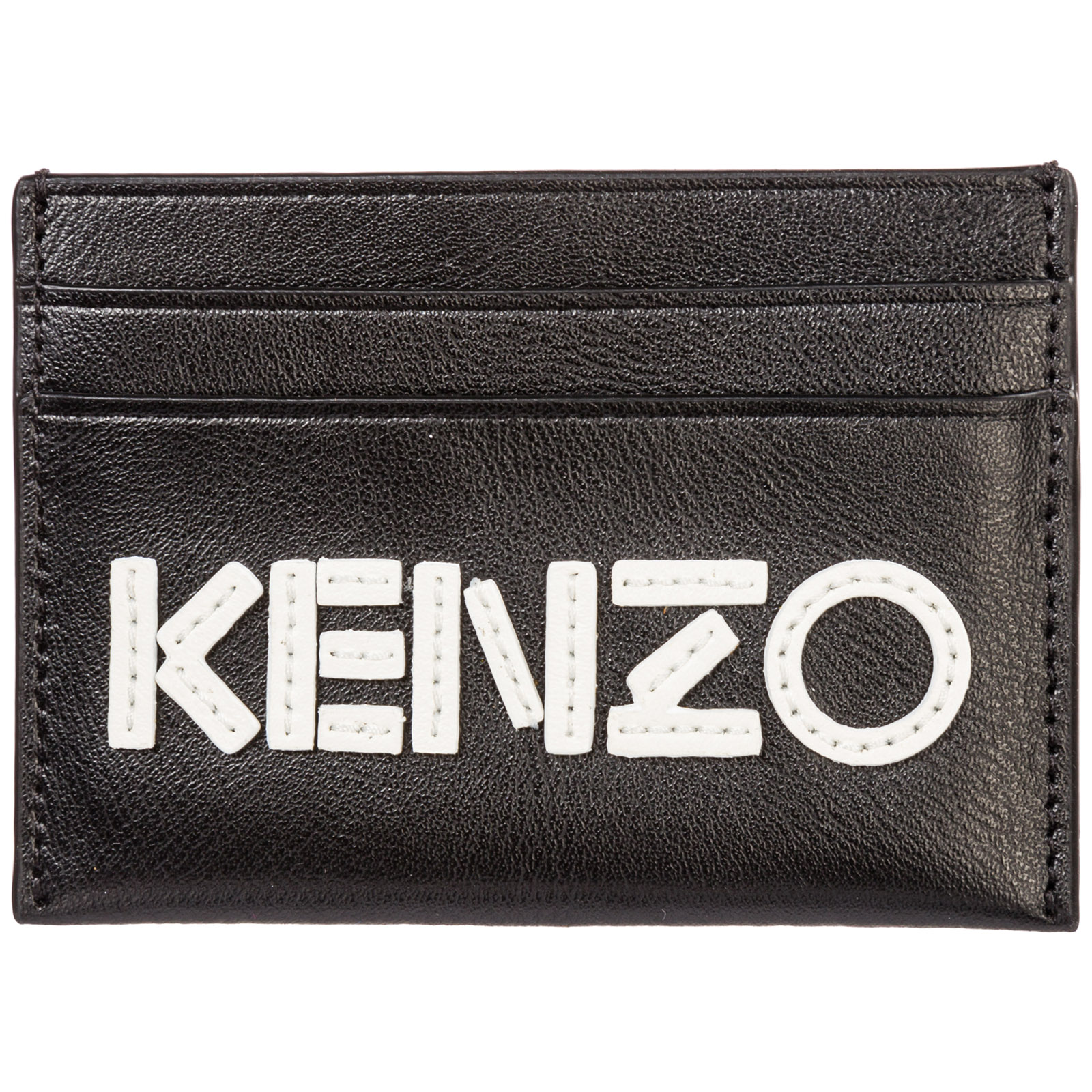 Kenzo Women's Genuine Leather Credit Card Case Holder Wallet In Black