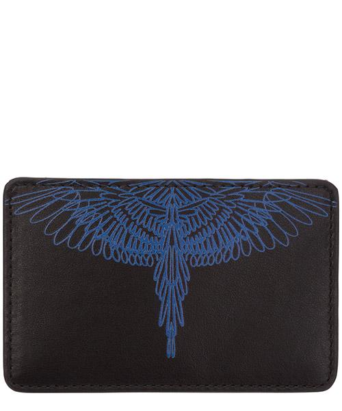 Credit card holder Marcelo Burlon pictorial wings CMND008E20LEA0021045 black / blue